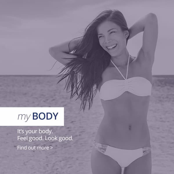 Body - it's your body, look good feel good. Girl posing on beach smiling